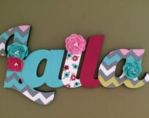 Custom Kids Name Sign - Nursery Wall Letters Name Sign - Wood Wall Letters Large Cursive Style