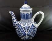 Vintage Blue and White Porcelain Coffee Pot Teapot Andrea Sadek