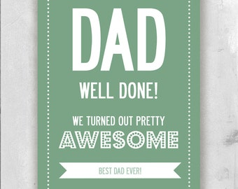 Father's Day Personalized DAD Text And Name Print. A3 luxury poster print.