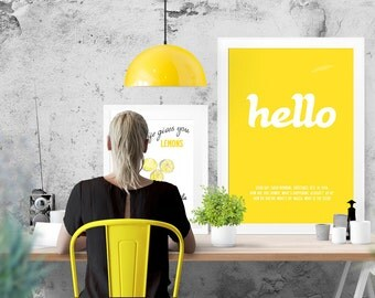 HELLO  typographic luxury print with words about Hello. Large poster print size 42x59.4 cm