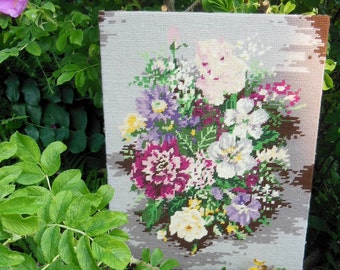 Vintage Needlepoint Floral Picture, ready to hang