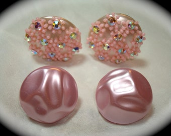 1960s Pink Rhinestone BUtton Earrings.