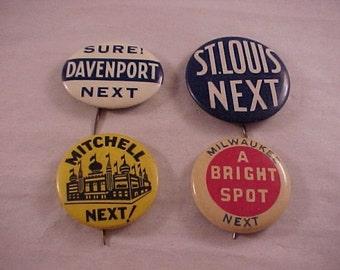 Vintage Pinback Buttons 1930s - 1940s