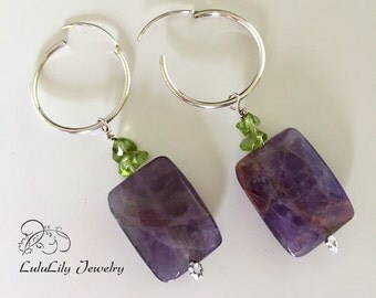 Amethyst Hoop Earrings. Peridot Earrings, Dangle Earrings, Birthstone Earrings, Sterling Silver