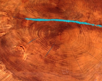 Magnificent Turquoise Inlay Cherry Slab Table on cast iron deco base