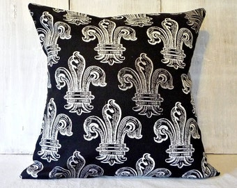 Black Fleur De Lis Pillow Cover - French Cottage Decor - 14x14, 16x16, 18x18, 16x20