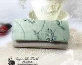 Cellphone wallet iPhone 6 Plus Samsung Galaxy Note 4 Smartphone 12 Card Slots Zipper Pocket Embroidery Floral on Sage Green Natural Linen