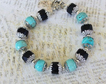 "Pale Blue Turquoise & Black 7 1/2"" Bracelet, baby blue, sky blue, black, silver, Czech Glass, chunky, blue stone, baby shower gift, for her"