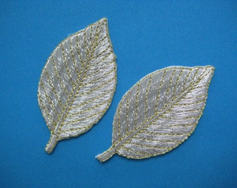 2 pcs Iron-on embroidered Patch Silver Leaf 2.25 inch