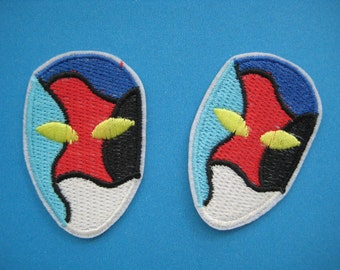2 pcs Iron-on Embroidered Patch Mask 2.1 inch