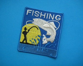 Iron-on embroidered Patch FISHING 3 inch