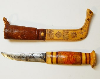 Vintage Antique Carved Reindeer Bone Scrimshaw Sami Puukko Swedish Knife Laplander