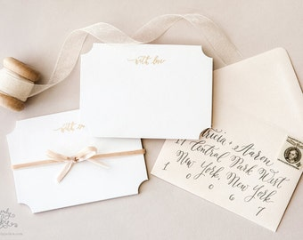 """Gold """"With Love"""" Calligraphy Note Card Set by Sincerely, Jackie with Everly, Calligraphy"""