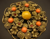 Amber Brooch Vintage Golden Brass Unique Coral Glass Austria (SR039)