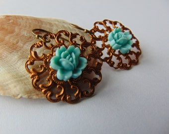 Ox Copper Filigree and Turquoise Flower Earrings