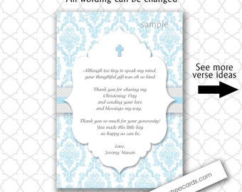 Blue Damask Baptism Thank you notes with poem / customizable / printable digital file  / boy christening thank you cards, blue and gray