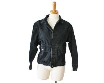 Early 90s Calvin Klein Sport Petite Jean Jacket - Ladies Small - Black Denim