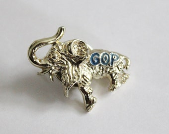 10 Dollar Sale Vintage 60s GOP Elephant Tie Tac, tiny pin, political republican (2 available)