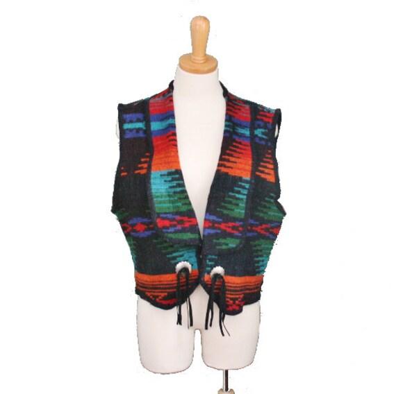 Vintage WOOLRICH Navajor Wool Cropped Vest - Women M L  - Late 80s