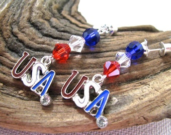 Red, White, and Blue Crystal Bling USA Long Dangly Fourth of July Earrings