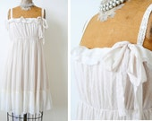 Vintage inspired creamy white tulle lace summer dress