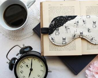 Linen Boston Terrier Dog Print Sleep Mask with black Handmade to Order