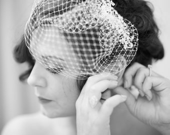 Mini Birdcage Veil Pouf Style Veil 8 Inches Net Bridal Bridesmaids Flower Girl Accessory Many Colors