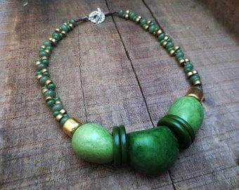 Tagua Nut Necklace 24 Gold Plated Ceramic Beads Bronze Toggle  Clasp