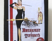 Small wall clock. Movie poster from Breakfast at Tiffanys.  For movie lover and Audrey Hepburn lover.