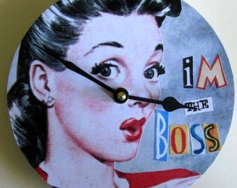 Wall clock. Clock for women. Fun wall clock. I'm the Boss. Office clock. Clock with words. Recycled vinyl record.