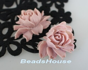 34-00-BK 2pcs Hight Quality Cabbage Rose Cabochon - Dusty Violet