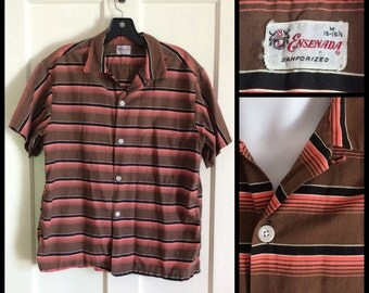 Vintage 1950s Short Sleeve Summer Loop Shirt size Mens Medium Salmon Brown Black Striped Sanforized cotton