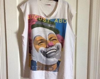 Vintage 1980s Butthole Surfers Locust Abortion Technician Rock Band Muscle sleeveless T-shirt XL 1987