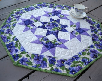 Purple Pansies 26 inch quilted table centerpiece octagon