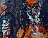 RESERVED for Sue Lloyd: Mixed Media Original Painting, Irie Man