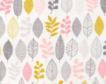 Organic FLANNEL Fabric - Cloud9 First Light - Leaf Sampler Pink Flannel - Prewashed