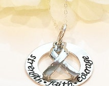 Hand Stamped Cancer Awareness  Necklace- Cancer Necklace-Breast Cancer Necklace