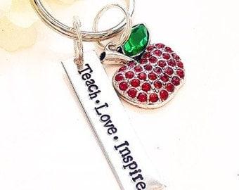 Teacher Keychain-Teach Love Inspire gift- Teacher gift-end of School year teacher gift