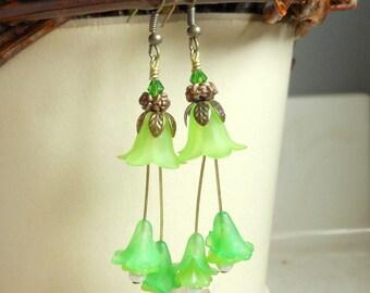 Spring Green Tulip Earrings,Ruffly Long Earrings,Dangle Earrings,Bridal,Wedding