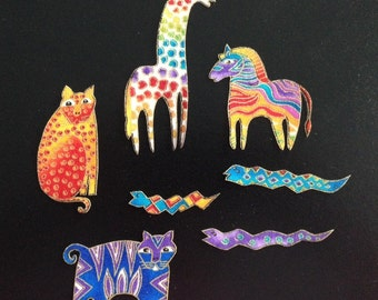 RARE Set of 7 Adorable Jungle Animal Appliques*Handmade*OOP Laurel Burch fabric/97