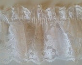 elastic lace white ruffled fabric sewing trim for bridal,altered couture, evening wear, lingerie, decor 4  yards