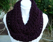 COWL SCARF Infinity Loop Solid Dark Eggplant Purple, Thick, Soft Wool Blend Crochet Knit Winter Circle, Neck Warmer..Ready to Ship in 3 Days