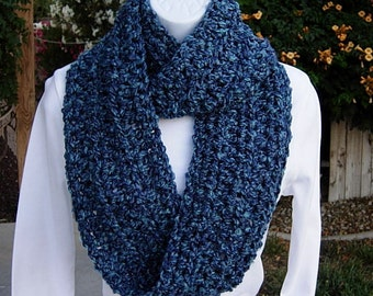 INFINITY SCARF Loop Cowl Dark & Medium Blue Multicolor Extra Soft, Thick Crochet Knit Winter Circle, Neck Warmer..Ready to Ship in 3 Days