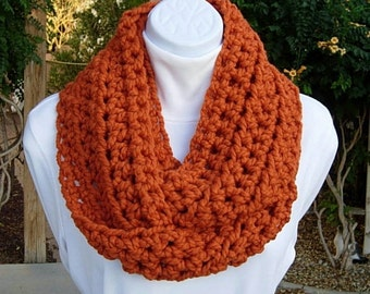 Infinity Cowl Scarf, Solid Bright Burnt Orange, Bulky Soft Wool  Blend, Soft Thick Crochet Knit Winter Circle Loop, Ready to Ship in 2 Days