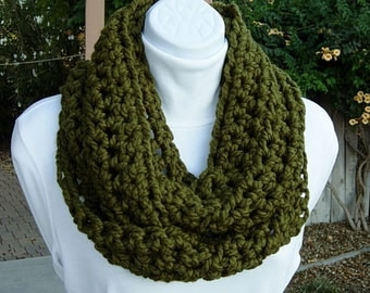 Infinity Scarf Loop Cowl  Dark Solid Olive Military Green Soft Thick Wool Blend, Crochet Warm Winter Endless Circle..Ready to Ship in 2 Days