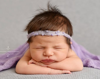 Lavender Pearls Mohair Halo Tieback Headband Newborn Photography