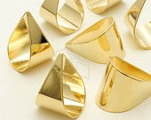 PD-1017-GD / 4 Pcs - Solid Drop Pendants, 16K Gold Plated over Brass / 15mm x 21mm