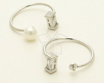RR-019-OR / 1 Pcs - Cube CZ Ring Base for Half Drilled Pearl, Silver Plated over Brass / Free Size