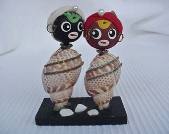 Man and Woman Made of Wood and Shells Figurine Home and Garden Home Decor Collectibles Black Memorabilia Black Americana Figurines