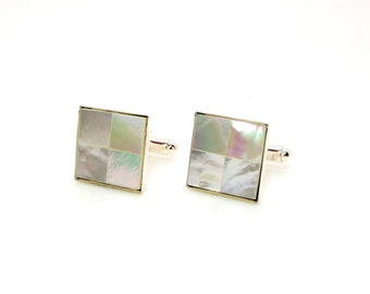 Mosaic Ivory Mother of Pearl Cuff Links – White Pearl Cuff Links – White Cuff Links